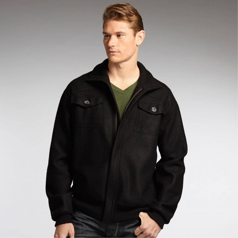 Men's Alpaca Blend Black Jacket with 2 Pockets and Zip Front, men clothing, men jackets Father's Day Gifting