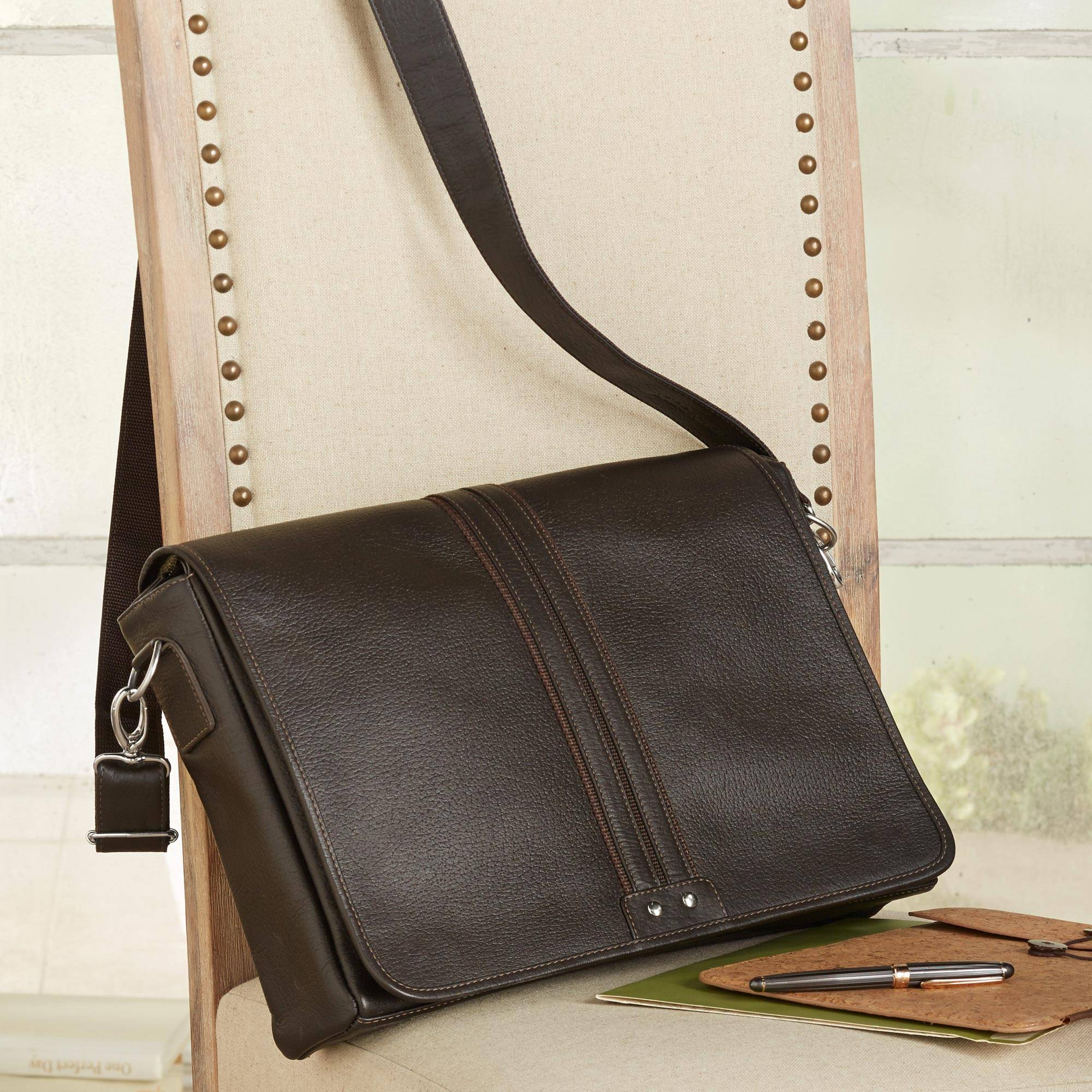 Alluring Altiplano Unisex Brown Leather Messenger Bag from Bolivia Father's Day Gifting