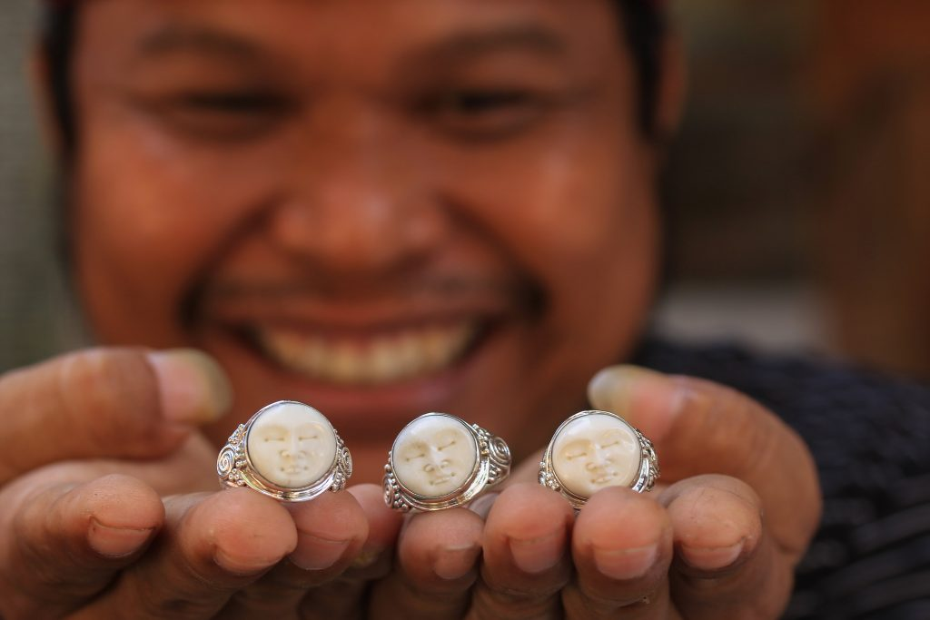 Buana with his cow bone rings