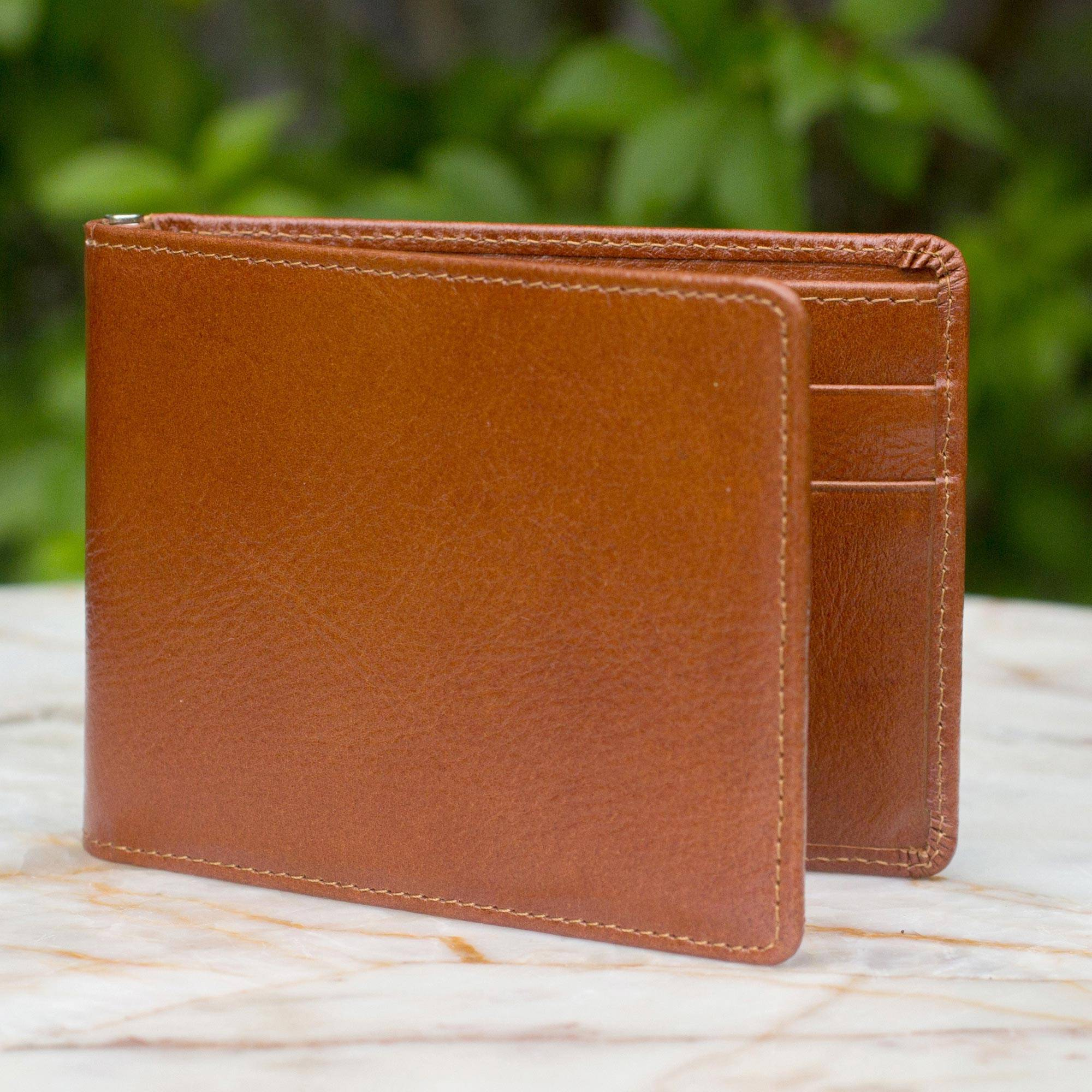 Credit to Brown Men's Leather Wallet Father's Day Gifting Handcrafted