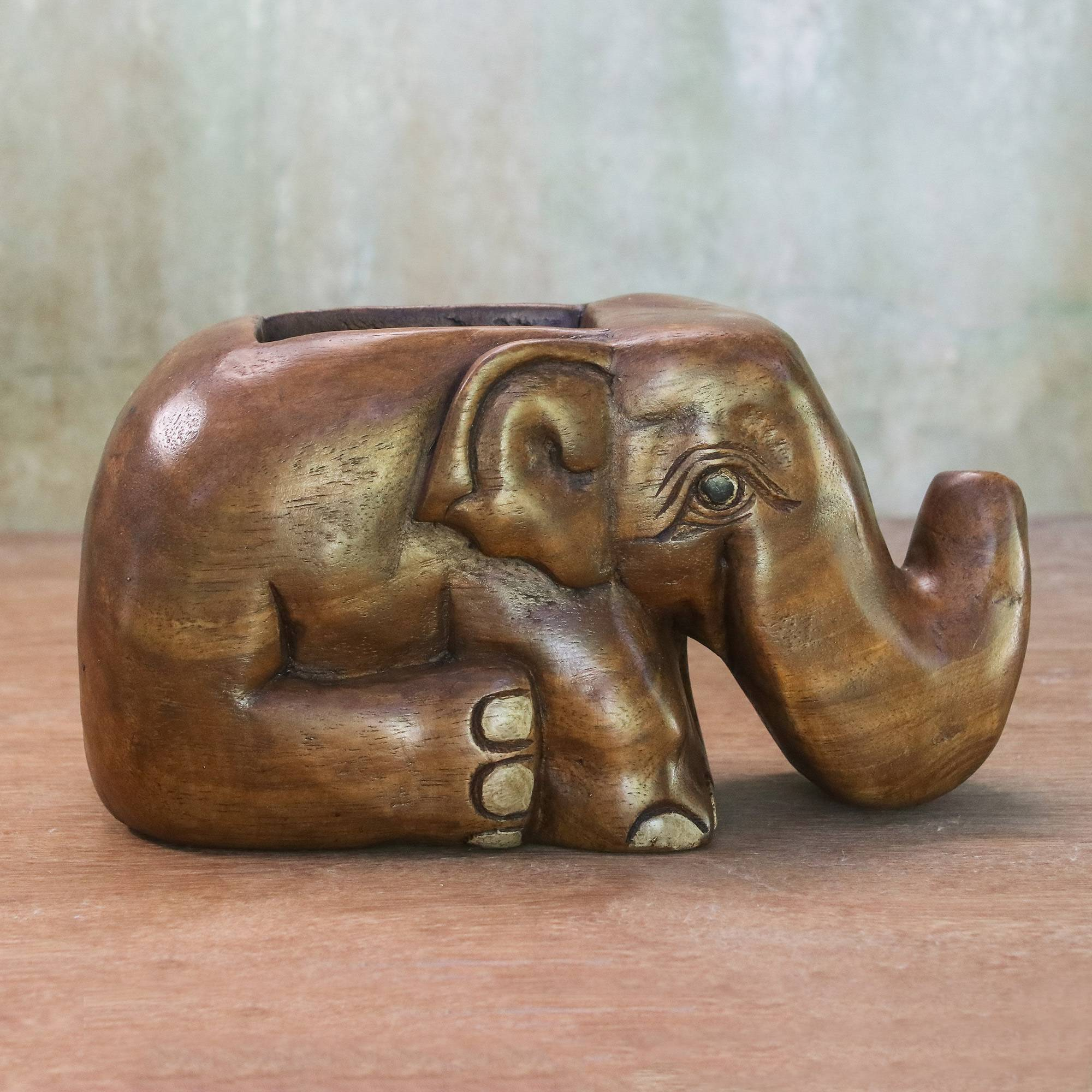 Elephant Sits Down Hand Carved Raintree Wood Elephant Card Holder Thailand Father's Day Gifting