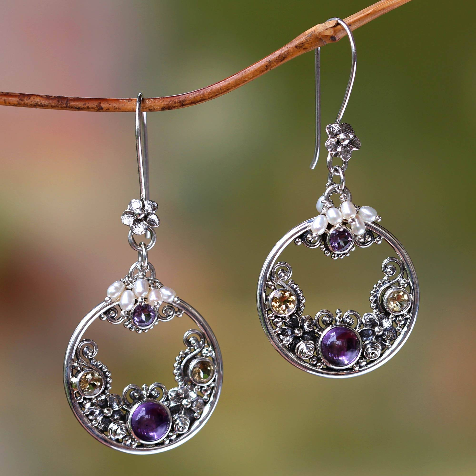 Frangipani Moons Pearl and Amethyst Earrings from Balinese Artisan Artisan story