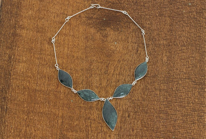 Green Maya Shield Jade Necklace Sterling Silver Guatemala Never Give up