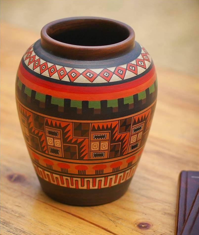 Inca Geometry Cuzco Ceramic Decorative Vase Peru's Inti Raymi Festival