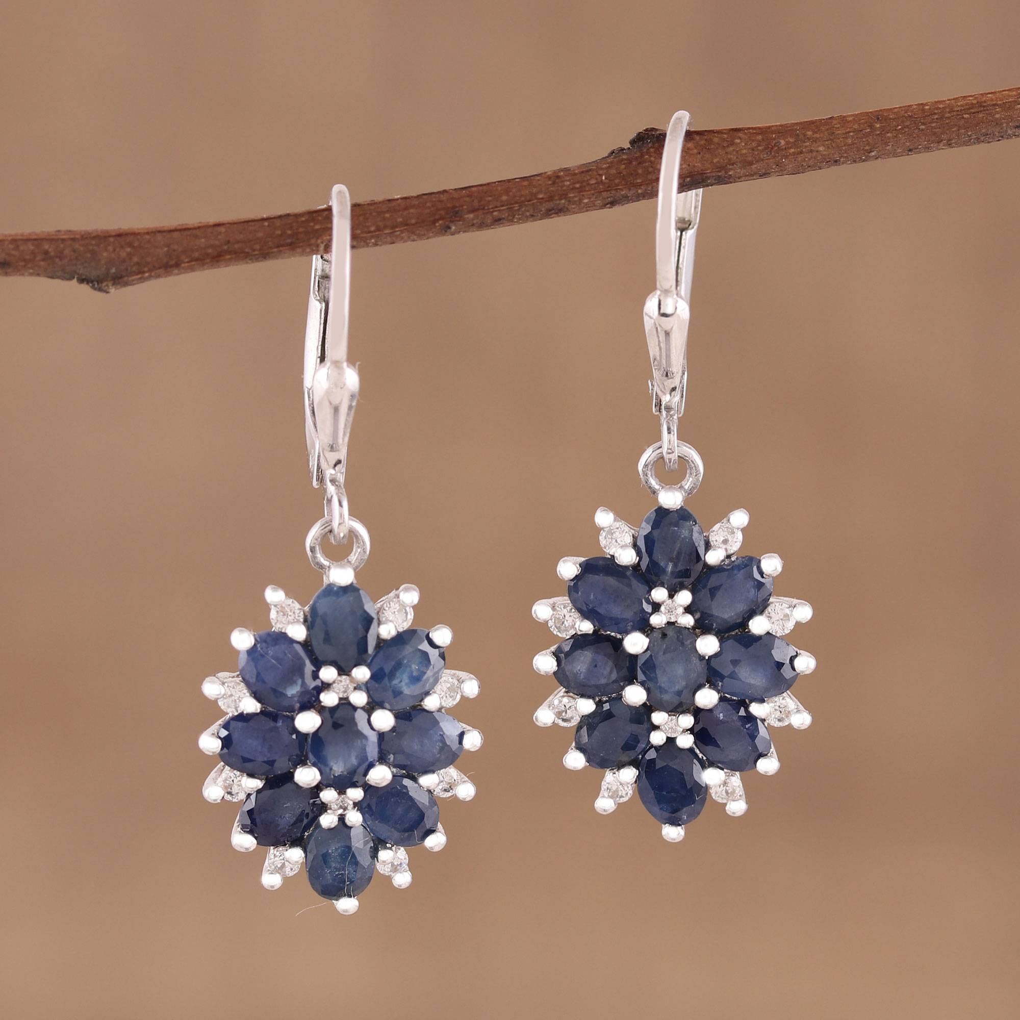 Majesty Blooms Sapphire and Rhodium Plated Sterling Silver Dangle Earrings What are birthstones