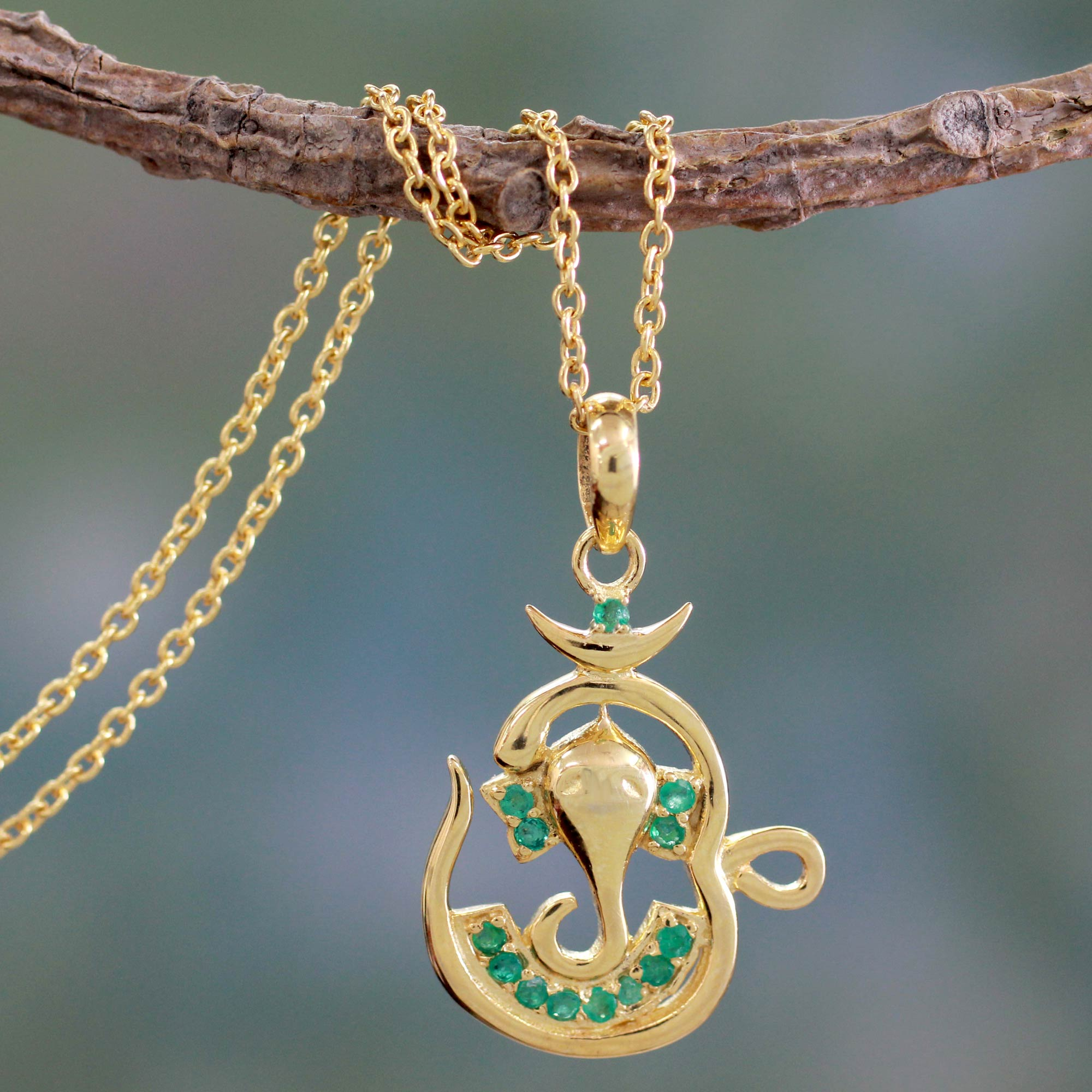Om Ganesha Emerald and Gold Vermeil Necklace What are birthstones