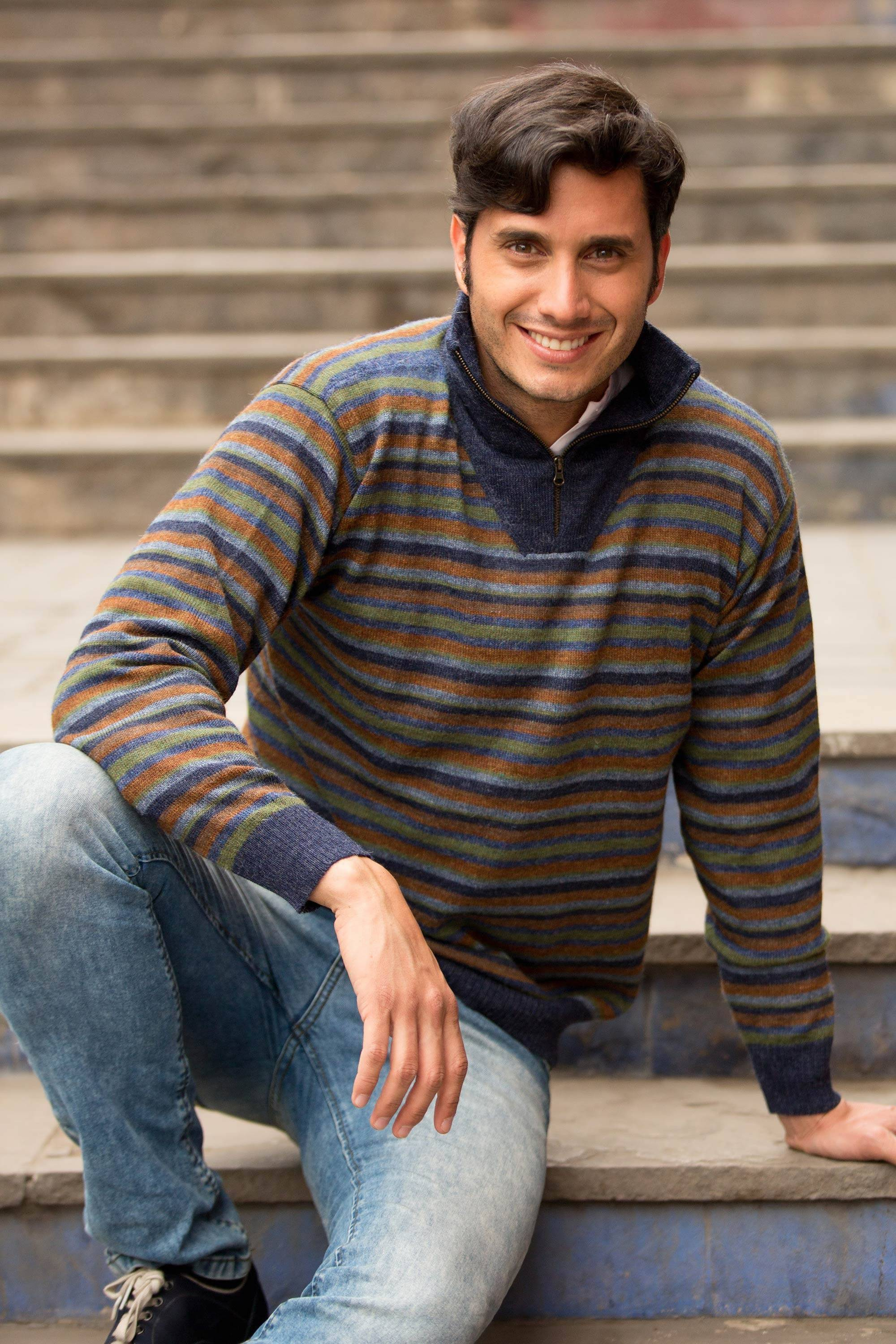 Grey Heights Blue Grey 100% Alpaca Men's Turtleneck Pullover Sweater Father's Day Gifting