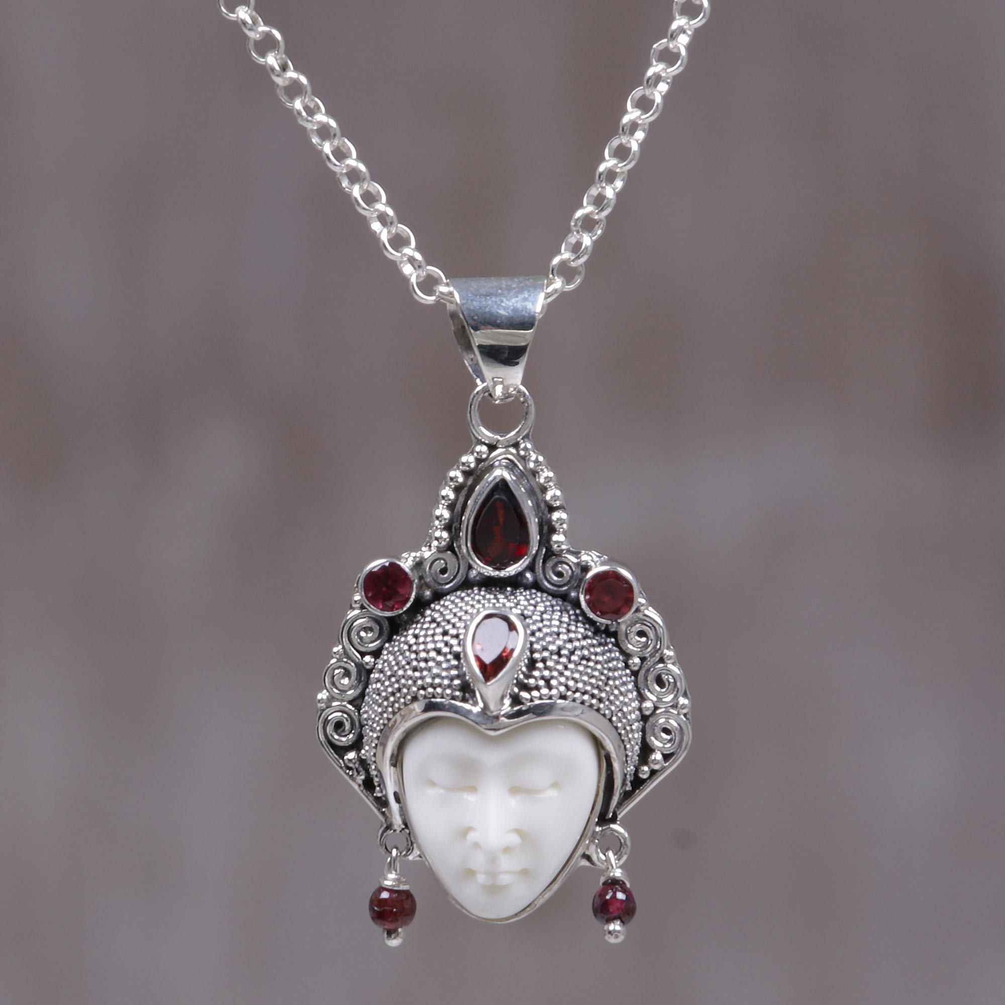 Queen of Sumatra Handmade Sterling Silver and Garnet Pendant Necklace Artisan Story