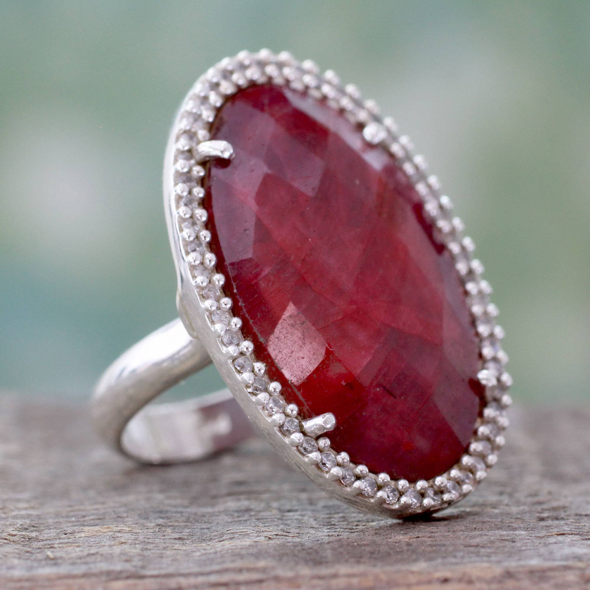 Ravishing Ruby Handmade Enhanced Ruby Cocktail Ring with CZ sterling silver what are birthstones