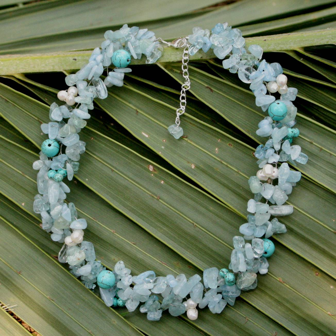 Sensation Beaded Aquamarine Necklace from Thailand Pearls quartz stainless steel what are birthstones