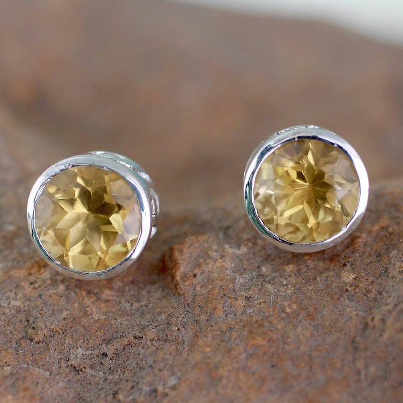 Spark of Life Citrine Stud Earrings Sterling Silver Jewelry, citrine, stud earrings, citrine earrings, birthstone, birthstone earrings what are birthstones