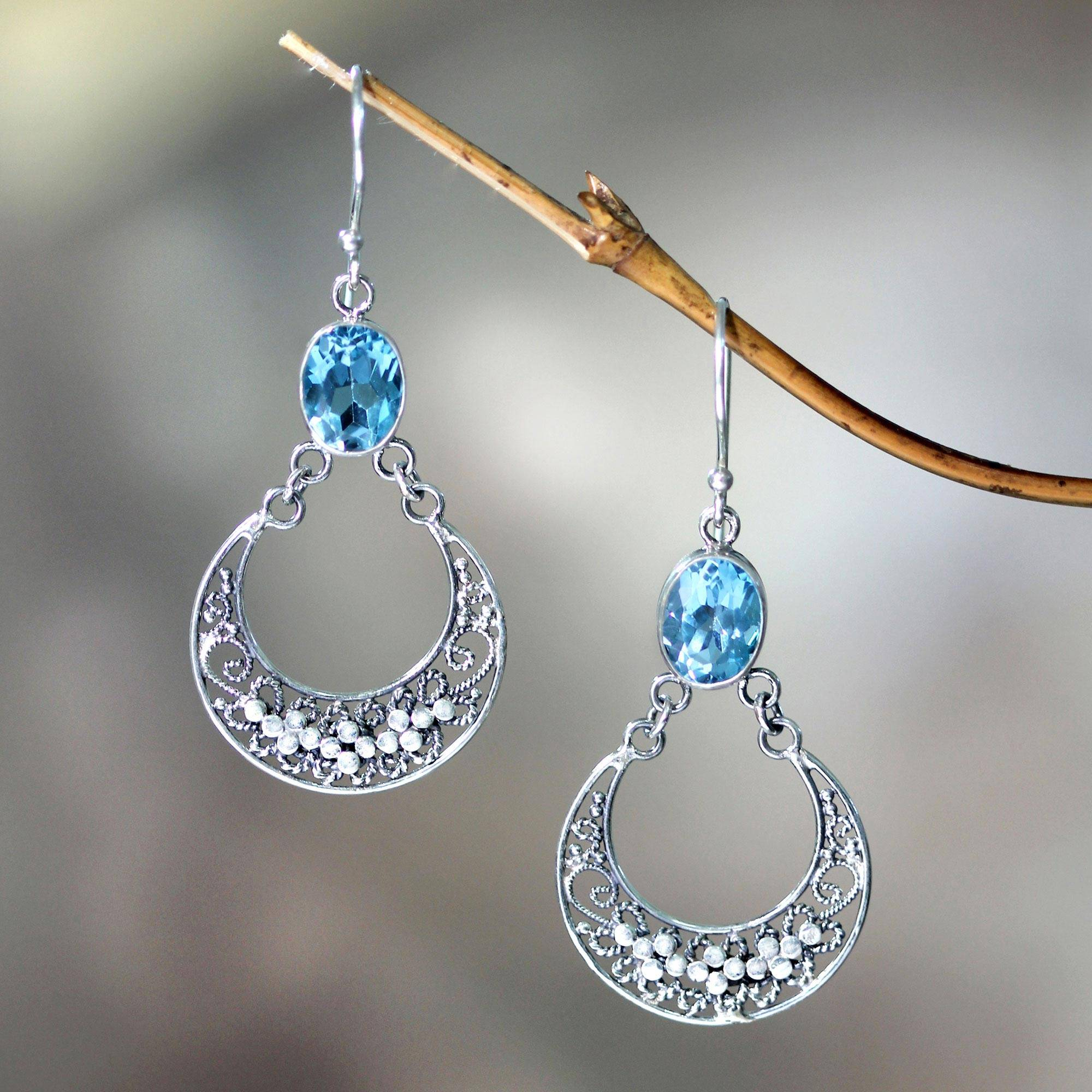 Sumatra Moons Unique Sterling Silver and Blue Topaz Dangle Earrings What are birthstones