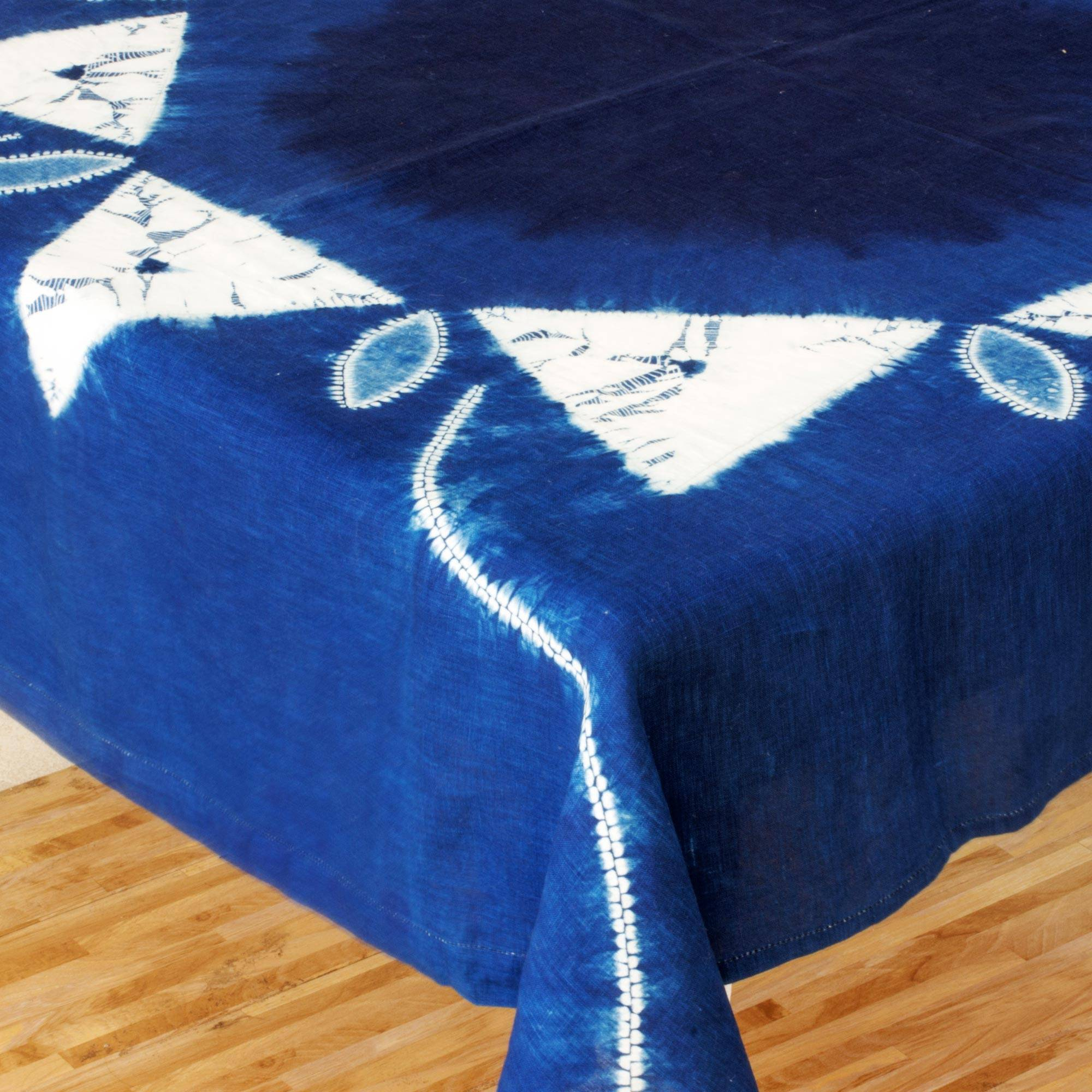 Sumpango Kites White Kites on Indigo Cotton Batik Hand Crafted Table Cloth 4th of July Party