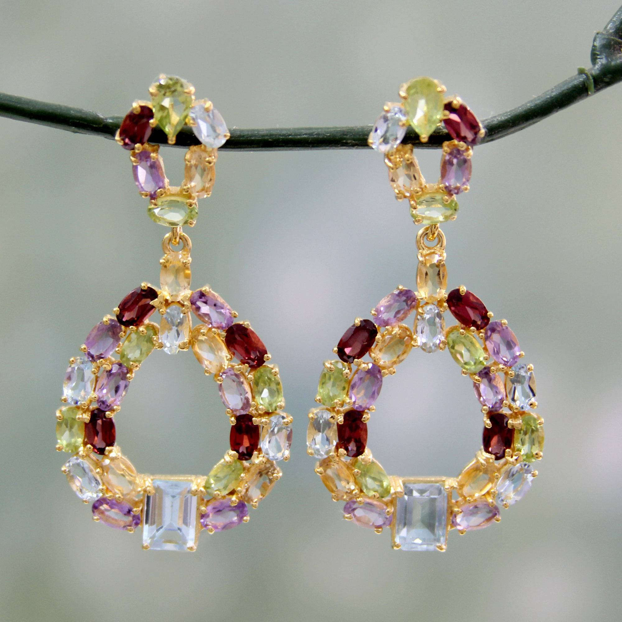 Treasure of Jaipur Colorful Multi-Gemstone Earrings in 18k Gold Vermeil What are Birthstones Faceted blue topaz, amethyst, peridot, citrine and garnet