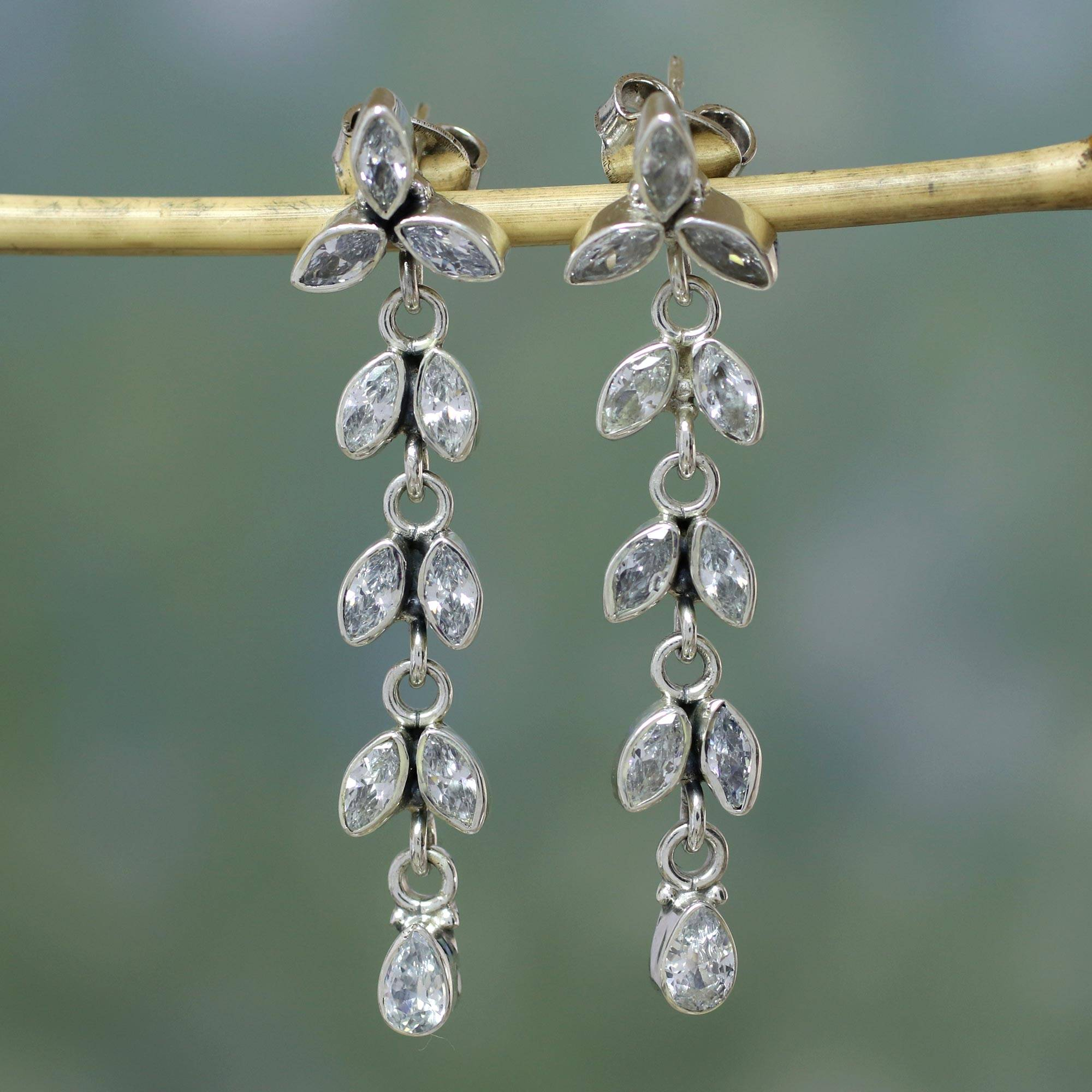 White Daffodils Sterling Silver and Quartz Earrings from Bridal Jewelry what are birthstones