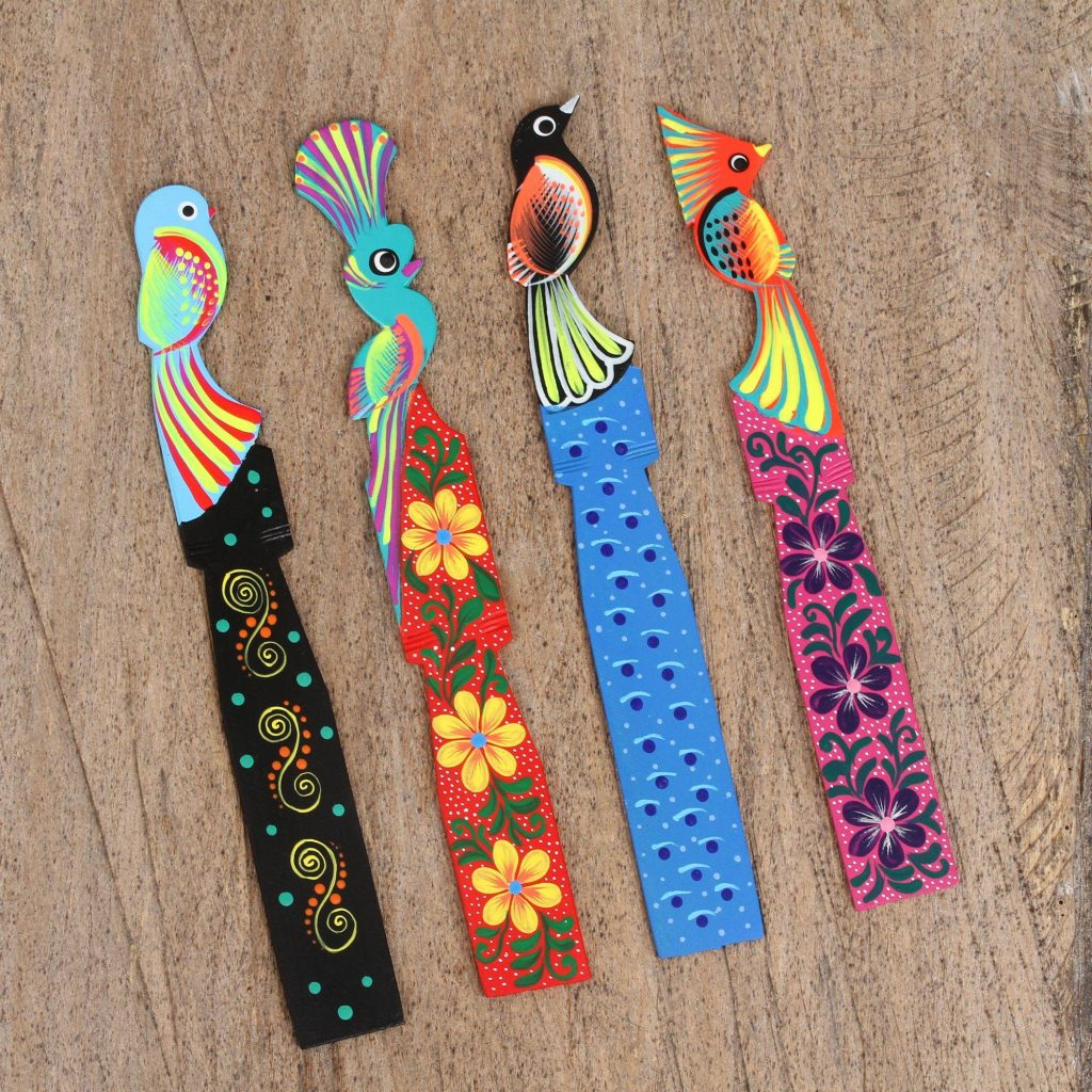 Vibrant Guardians Four Wood Birds of Paradise Bookmarks from Mexico Alebrije Sculpture
