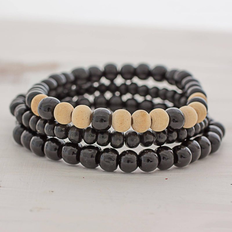 Beige and Black Wood Beaded Bracelets (Set of 3) Guatemala, beaded jewelry Father's Day Gifting