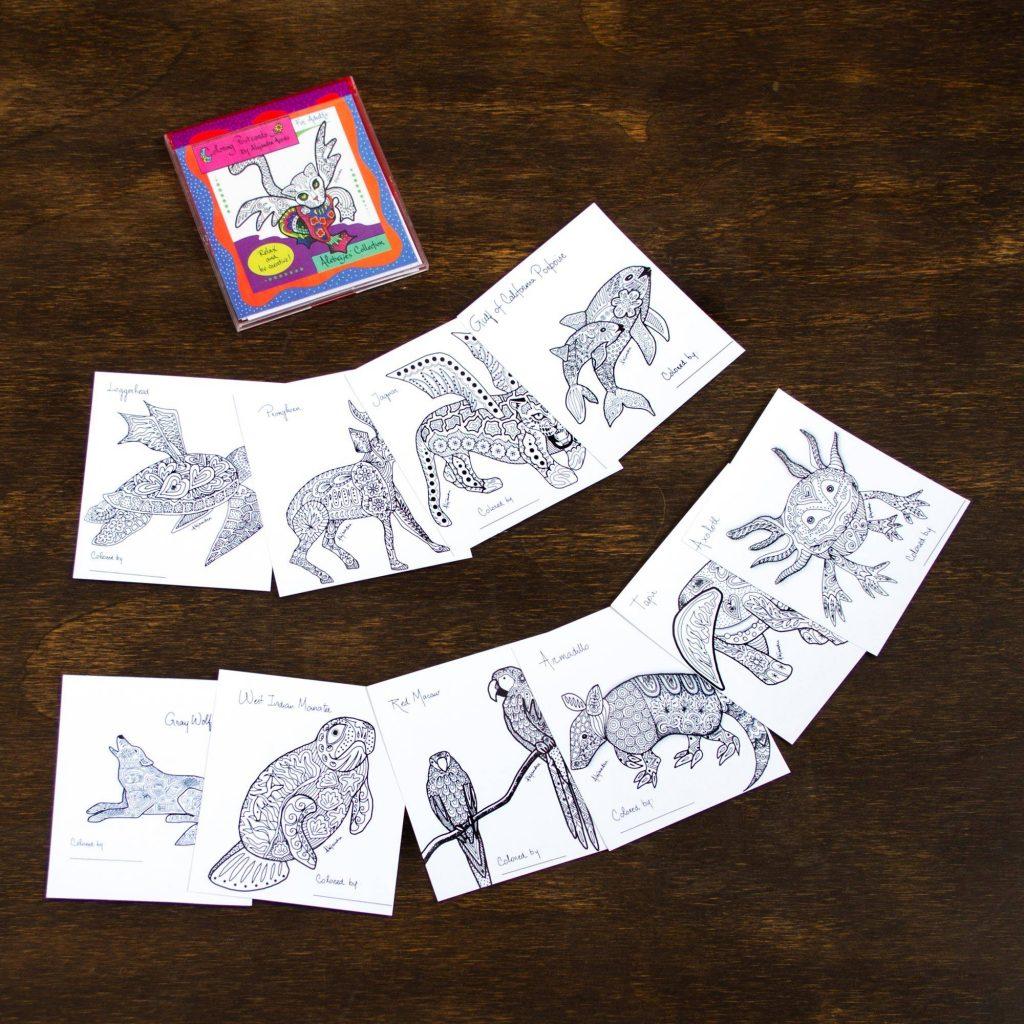 Alebrije Collection Gift Idea 10 Coloring Postcards of Mexican Animal Alebrijes Alebrije Sculpture