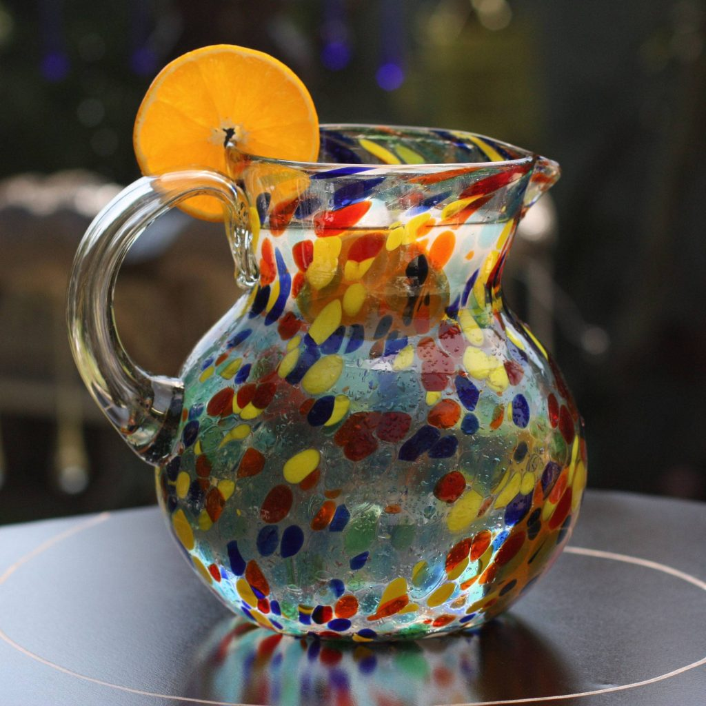 Confetti Hand Blown Glass Pitcher 71 Oz Multicolor Mexican Art Making Your New House Feel Like Home