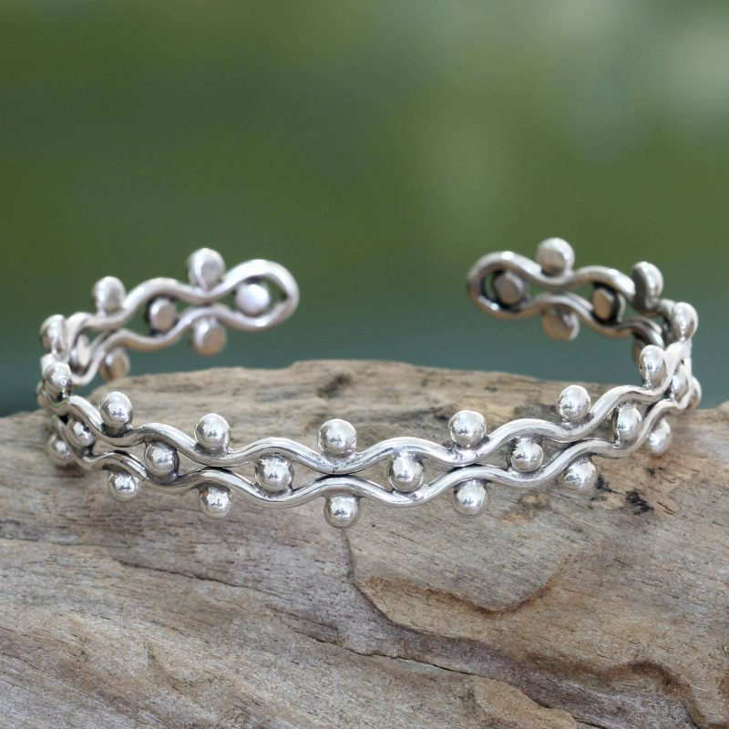 Sterling Silver Cuff Bracelet from Indonesia, silver jewelry