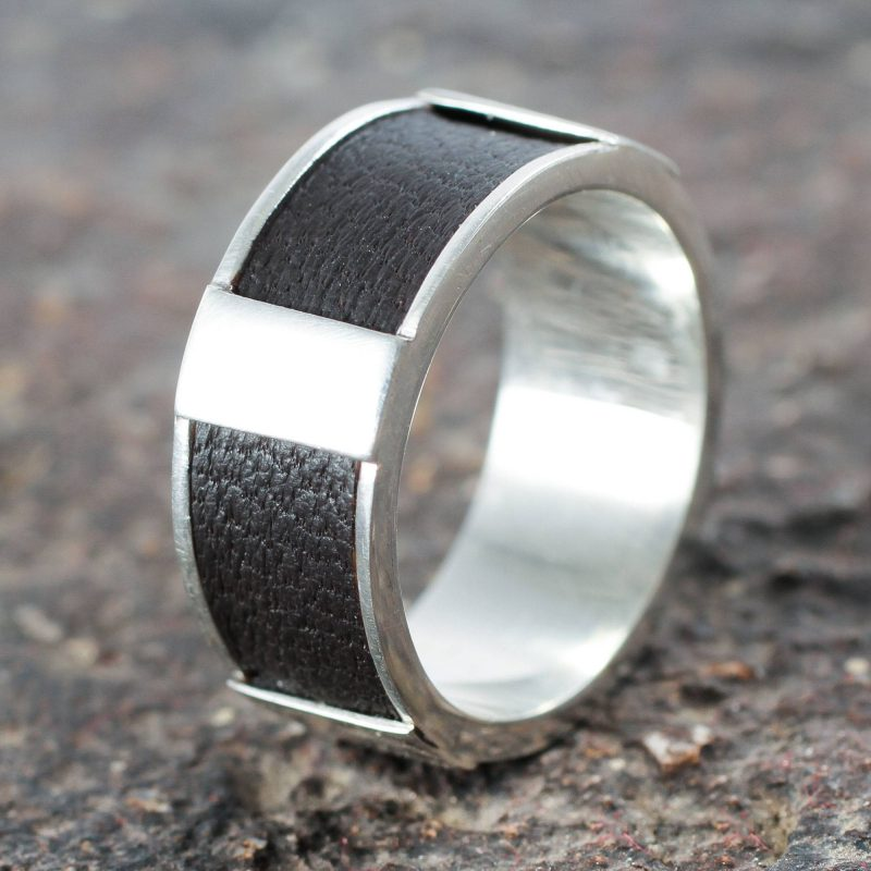 Artisan Crafted Leather Accent Sterling Silver Band Ring, silver jewelry for men Father's Day Gifting