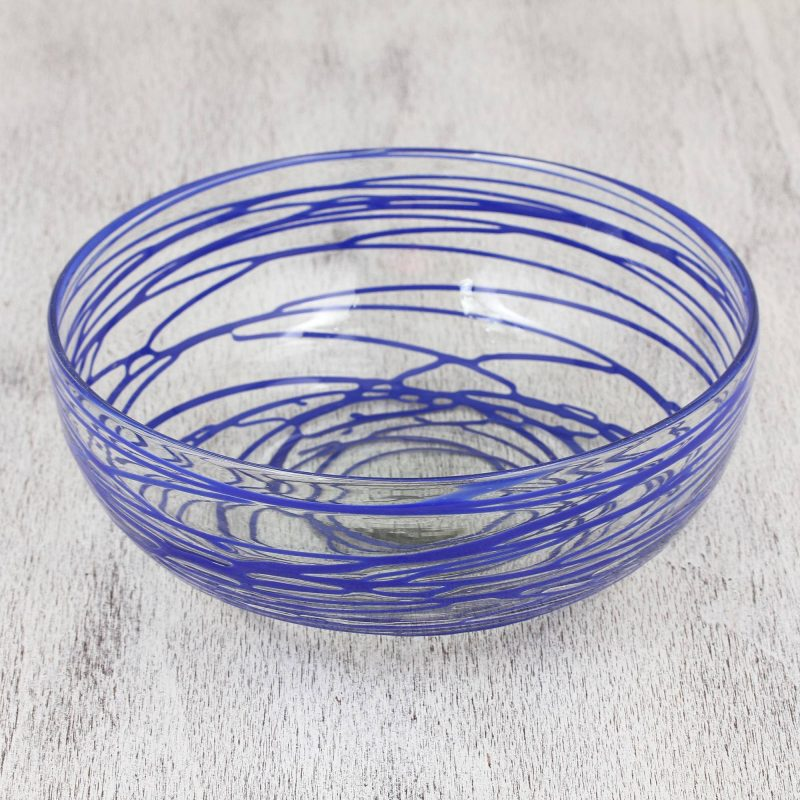 'Sapphire Swirl' Clear 10 Inch Blown Glass Salad Bowl with Blue Swirls 4th of July party