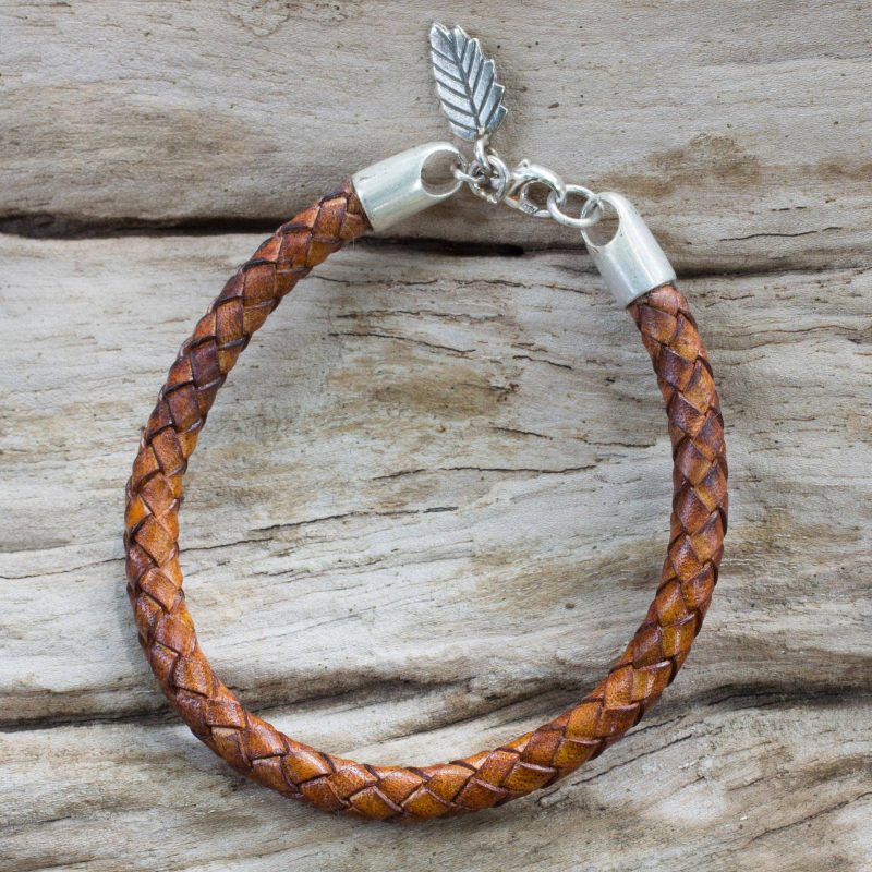 Artisan Crafted Tan Leather and Hill Tribe Silver Bracelet, men jewelry, leather jewelry Father's Day Gifting
