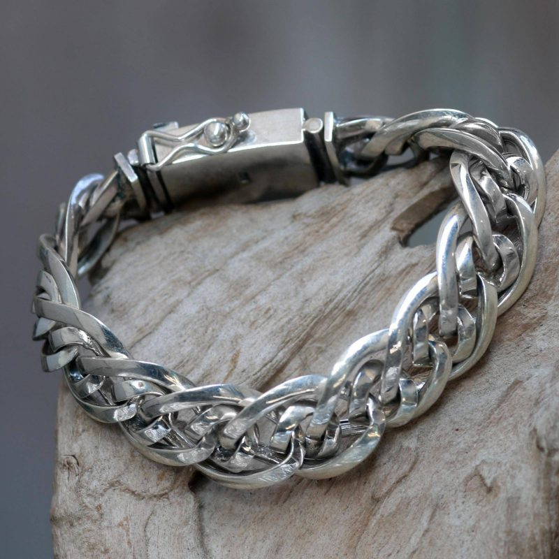 Artisan Crafted Chunky Sterling Silver Men's Bracelet, Sterling silver , Men bracelets Father's Day Gifting