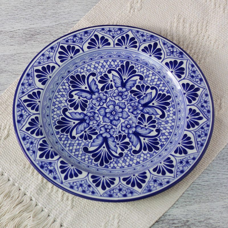 Talavera plates, mexican plates 'Cholula Blossoms' Handcrafted Authentic Mexican Blue Talavera Style Plate 4th of July Party