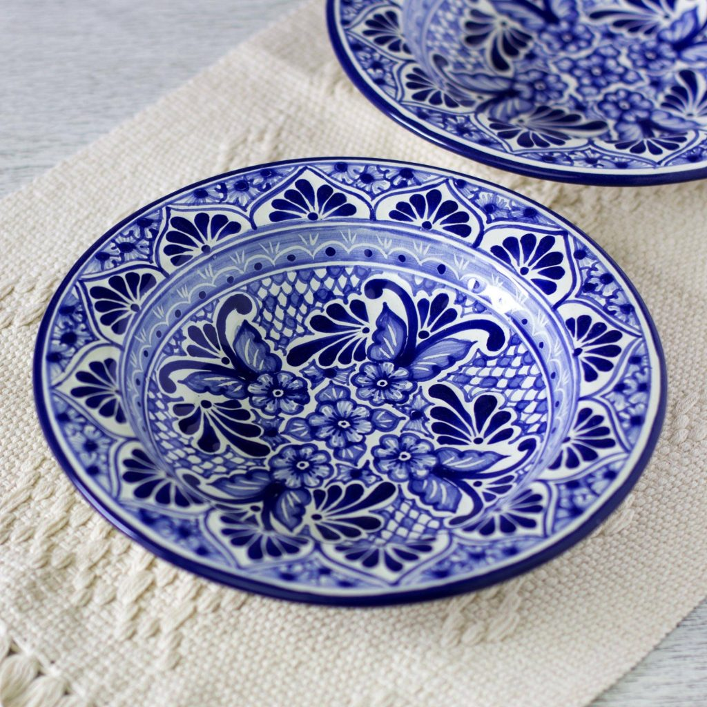 Cholula Blossoms Set of 2 Authentic Mexican Talavera Style Soup Bowls Making Your New House Feel Like Home