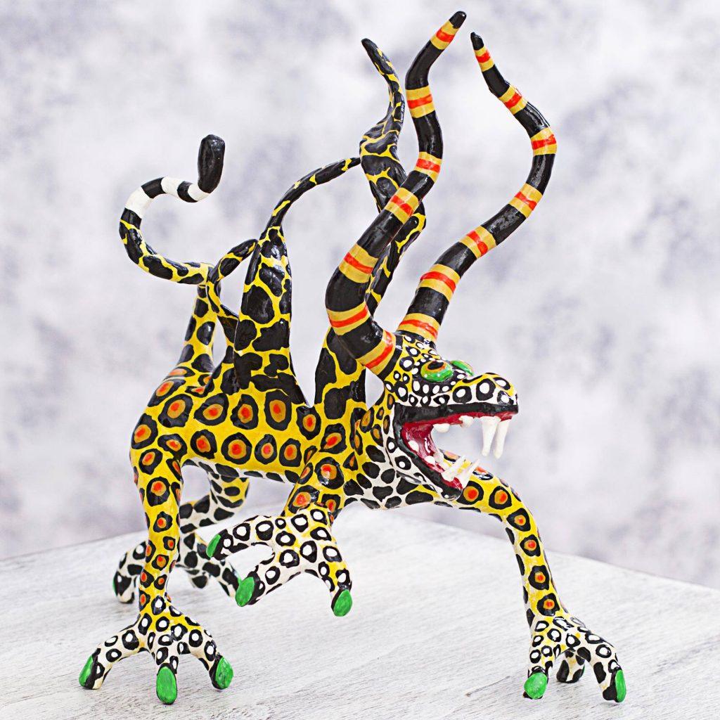 Phantasmagorical Leopard Surreal Leopard Alebrije Artisan Crafted Paper Sculpture Alebrije Sculpture