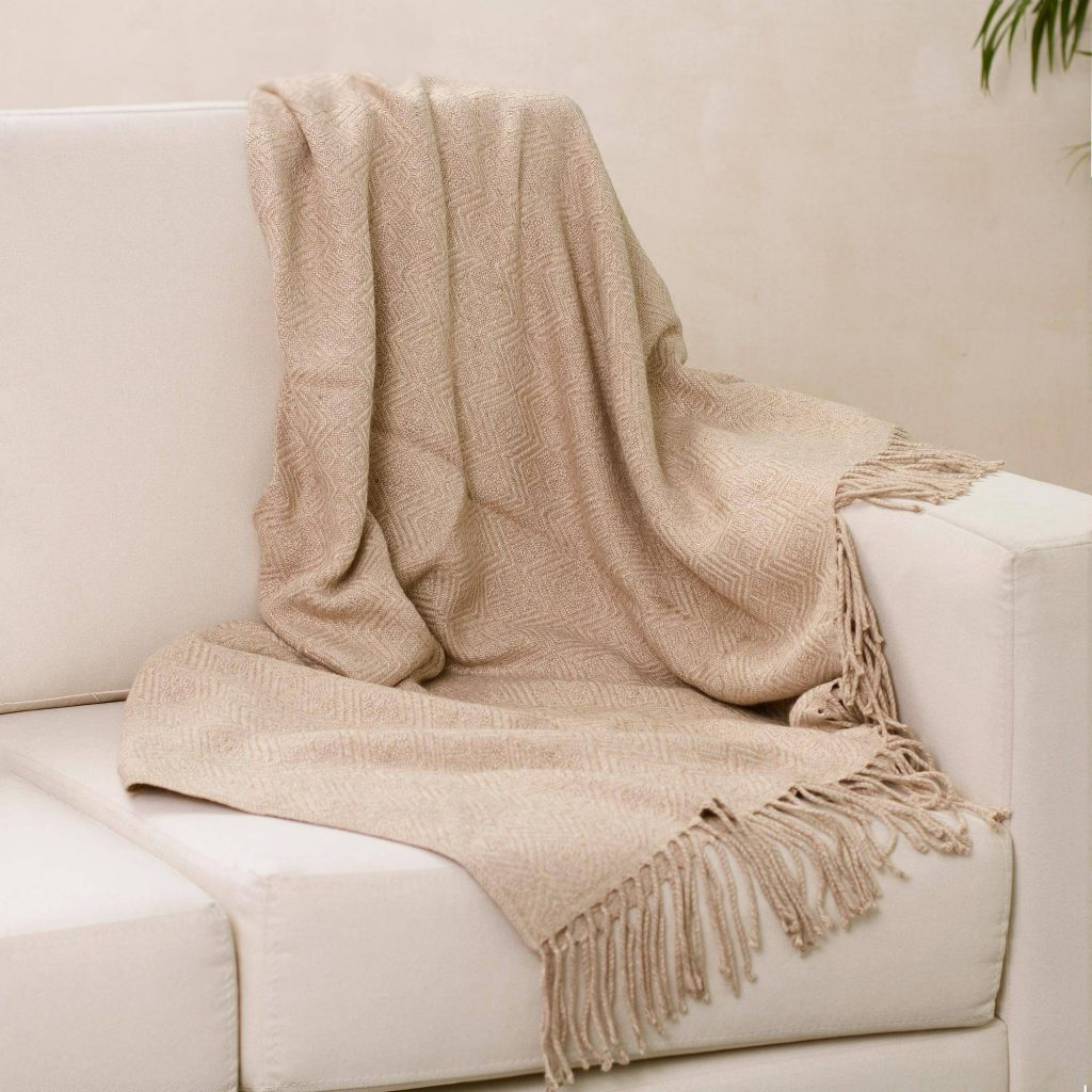Sandy Passion Alpaca Acrylic Blend Throw Blanket in Sand from Peru Making Your New House Feel Like Home