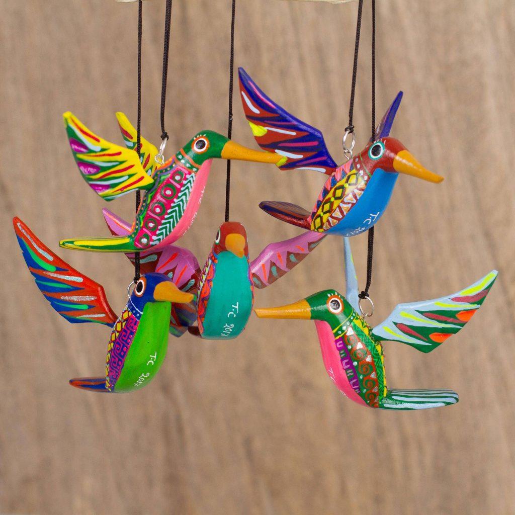 Hummingbird Beauties Five Hand-Painted Hummingbird Alebrije Ornaments from Mexico Alebrije Sculpture