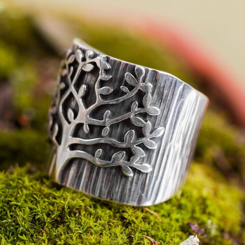 Handcrafted Sterling Silver Tree Theme Wide Band Ring
