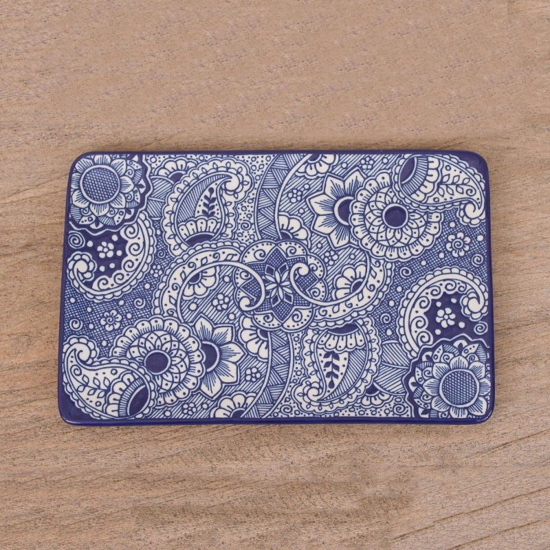 mexican tray, handmade tray 'Paisley Blue' Mexican Handcrafted Rectangular Blue Floral Ceramic Tray 4th of July