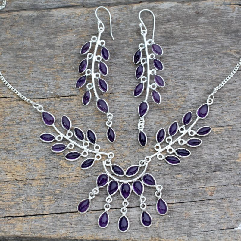 Floral Sterling Silver and Amethyst Jewelry Set, sterling silver jewelry set