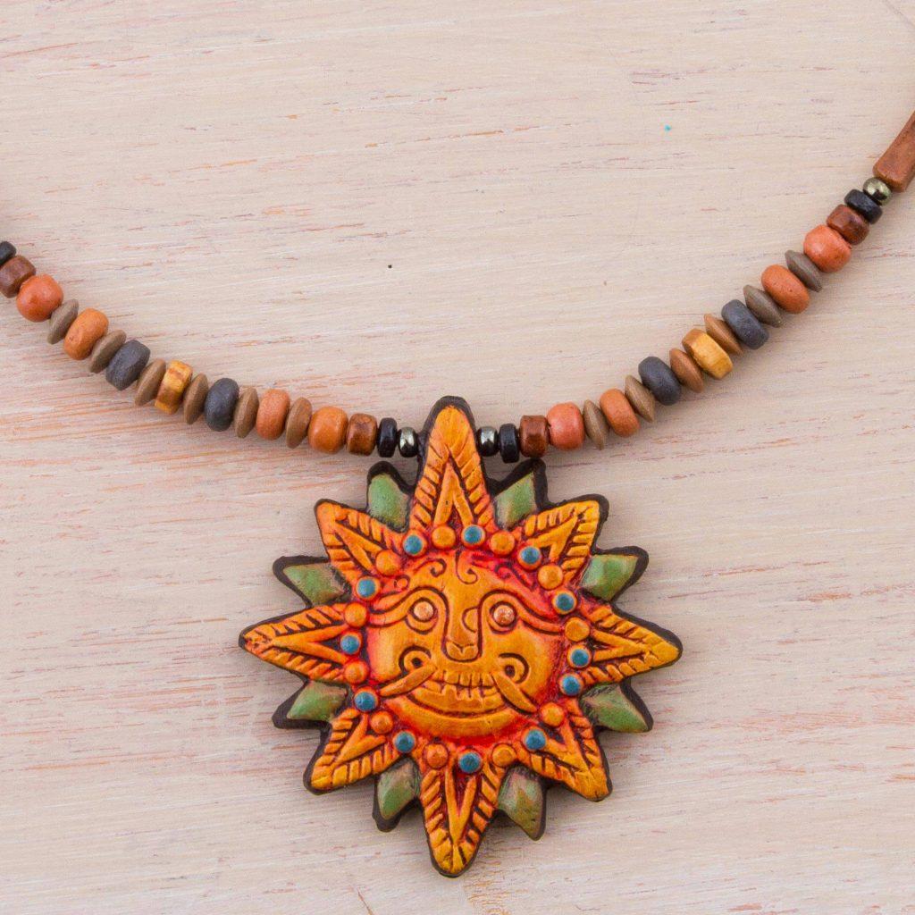Incan Sun God 925 Sterling Silver and Ceramic Inca Sun Necklace from Peru Peru's Inti Raymi Festival
