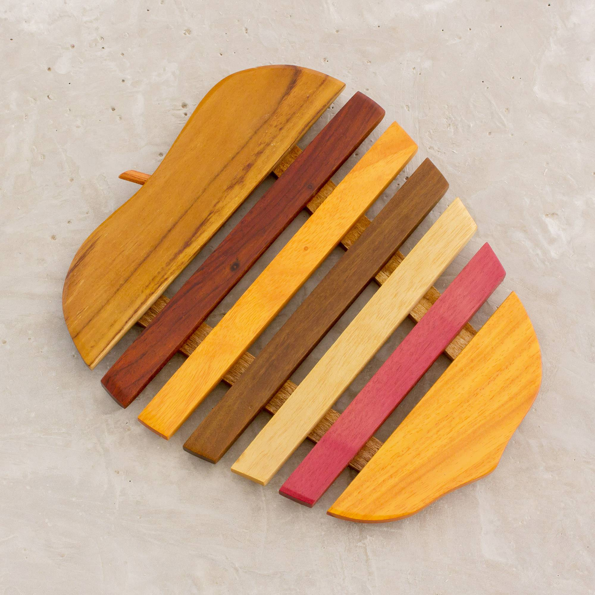 Apple a Day Yellow and Red Wood Apple-Shaped Trivet Inspiration For Their Woodcrafts