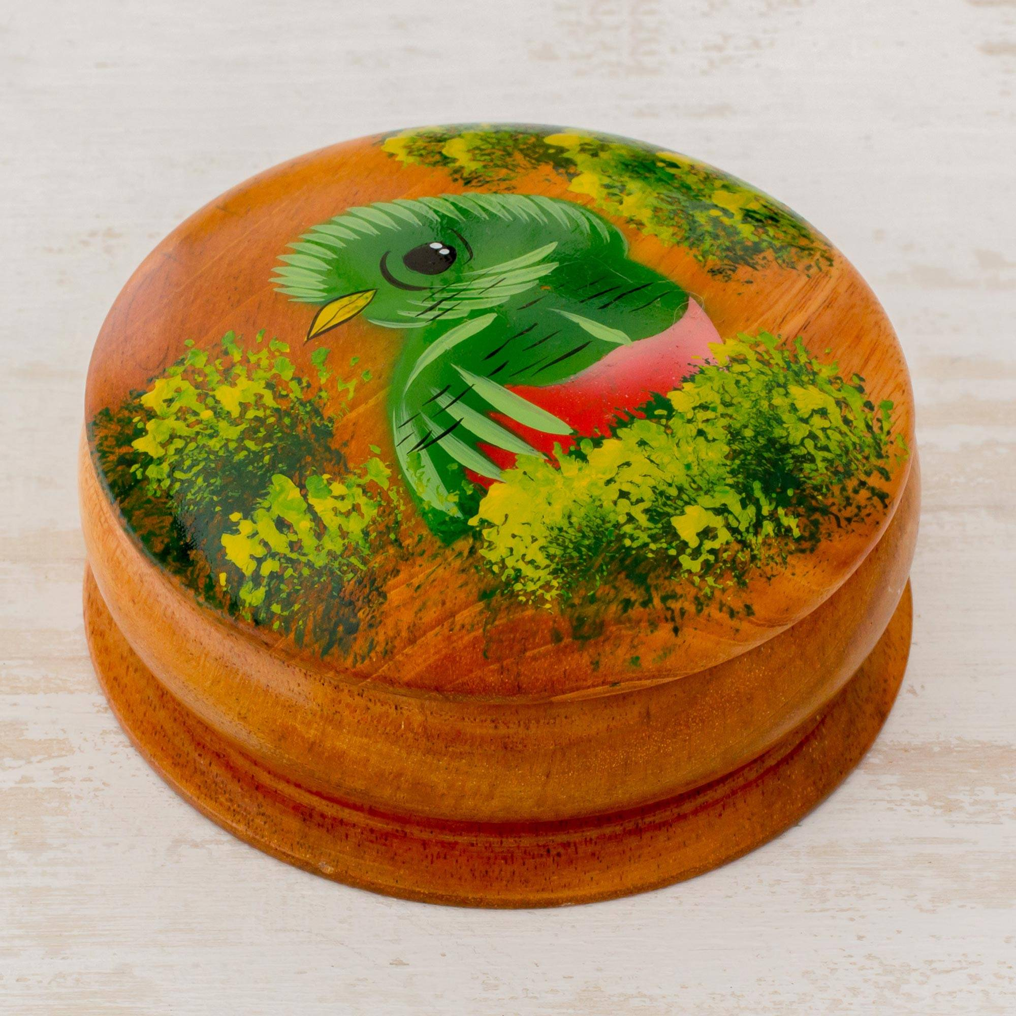 Curious Quetzal Round Cedar Decorative Box with Hand Painted Quetzal Inspiration For Their Woodcrafts