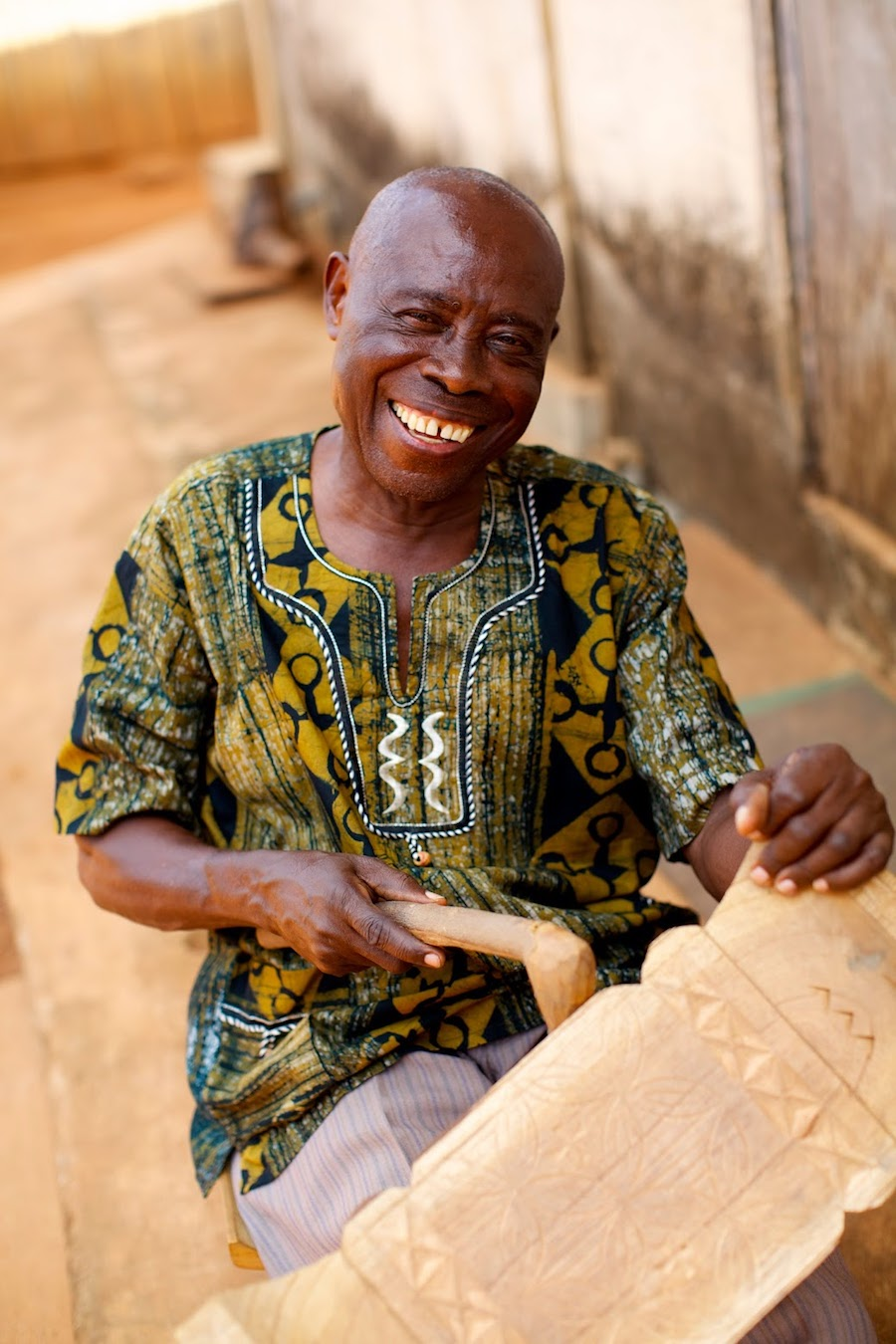 Chief Carver Nana Frimpong at work The experience of the Chief of carvers