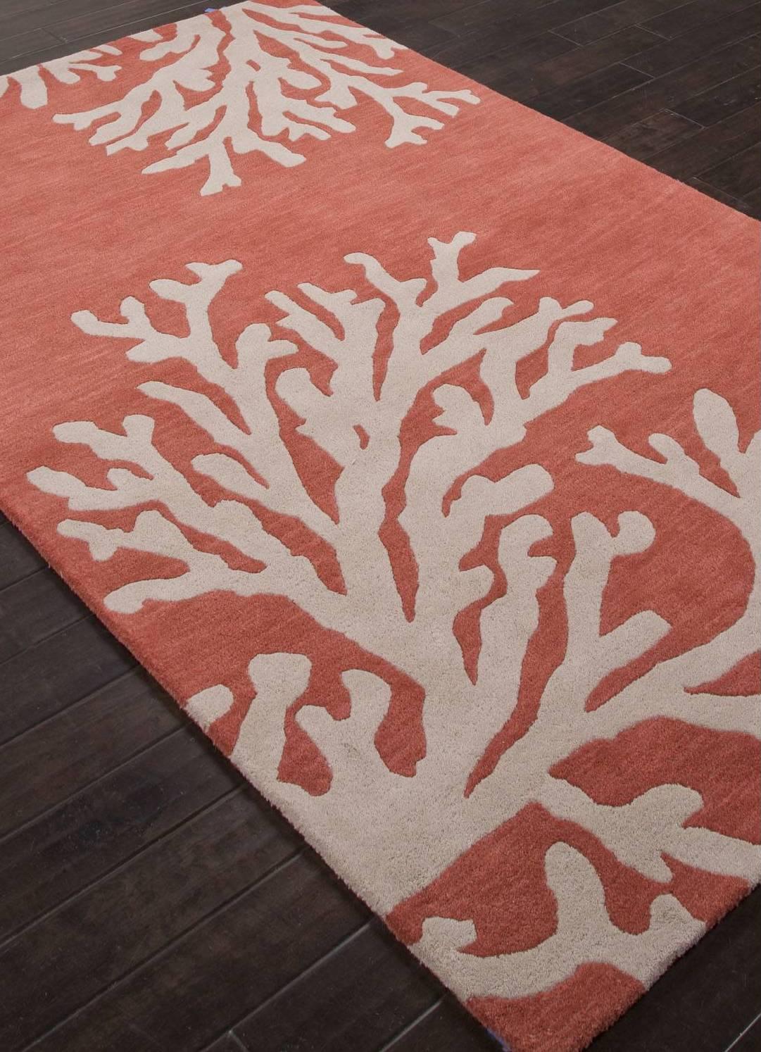 Coral Reef Modern Coastal Orange/Ivory Wool Area Rug Elegant Home