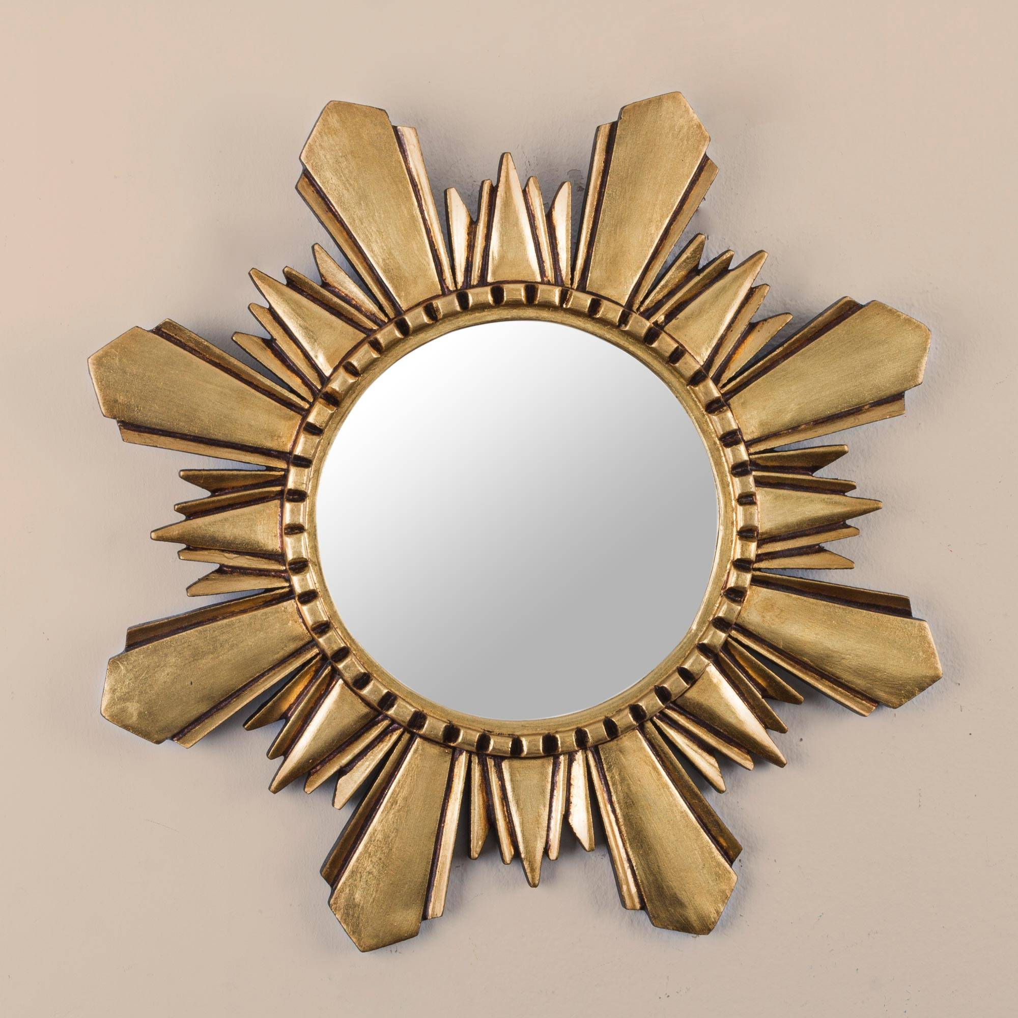 Cuzco Sun Handcrafted Gilded Wood Mirror