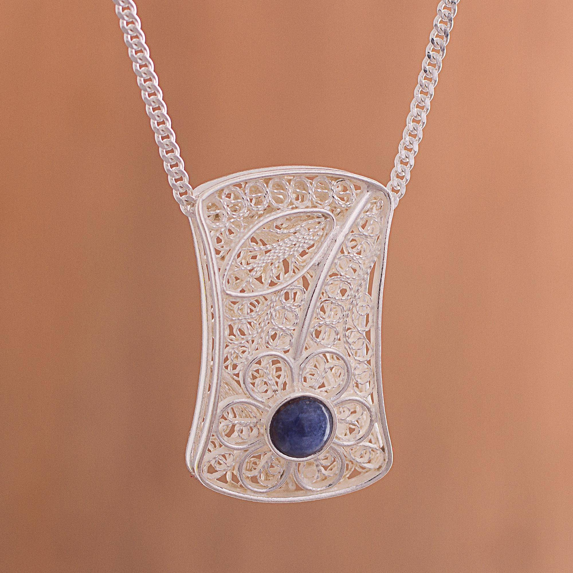 Day to Night Elegance Reversible Sodalite Onyx Sterling Silver Pendant Necklace Art and Tradition in Silver