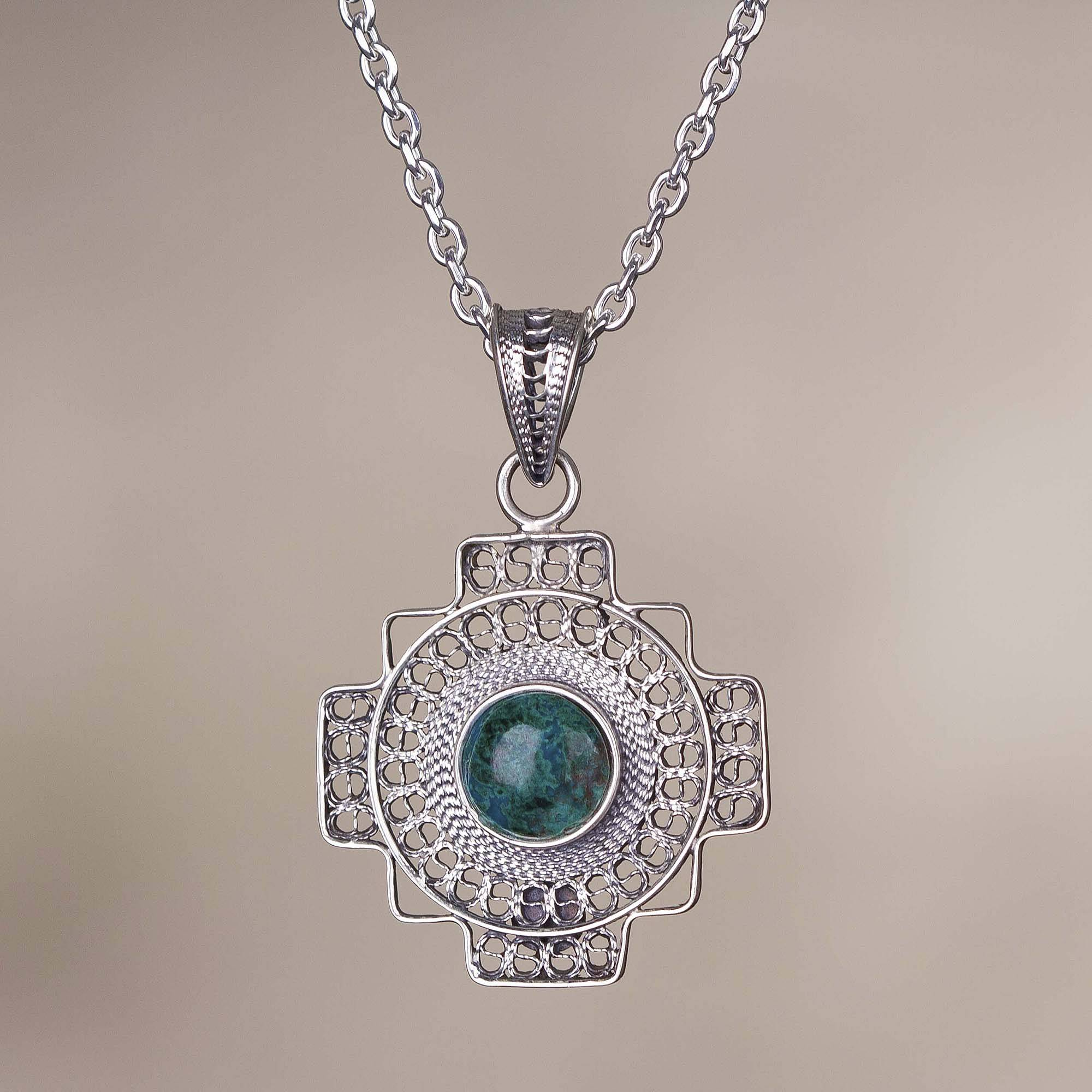 Green Valley Chakana Chrysocolla Chakana Cross Filigree Necklace from Peru Art and tradition in silver