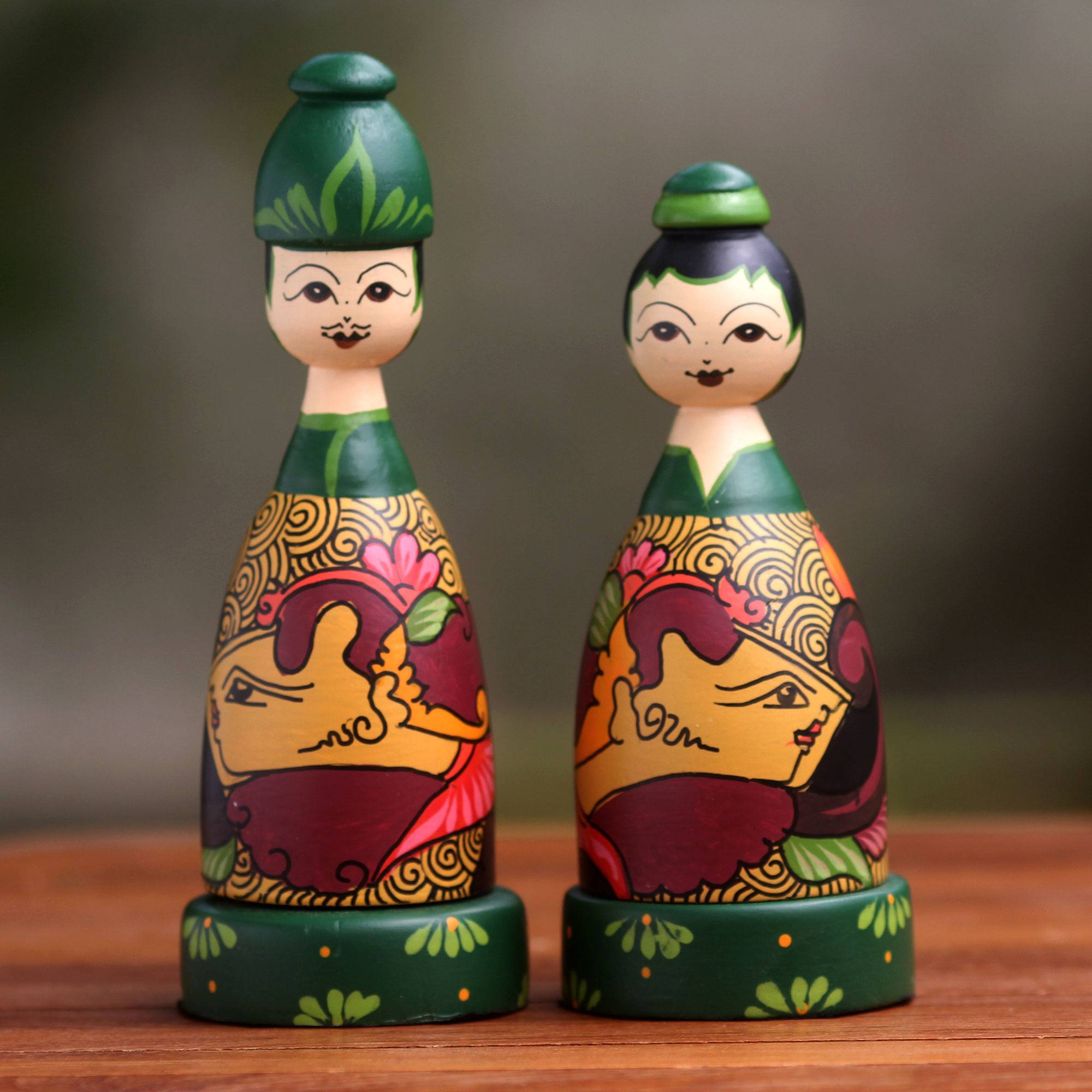 Jogja Couple Hand Painted Bride and Groom Wood Toothpick Holders (Pair)
