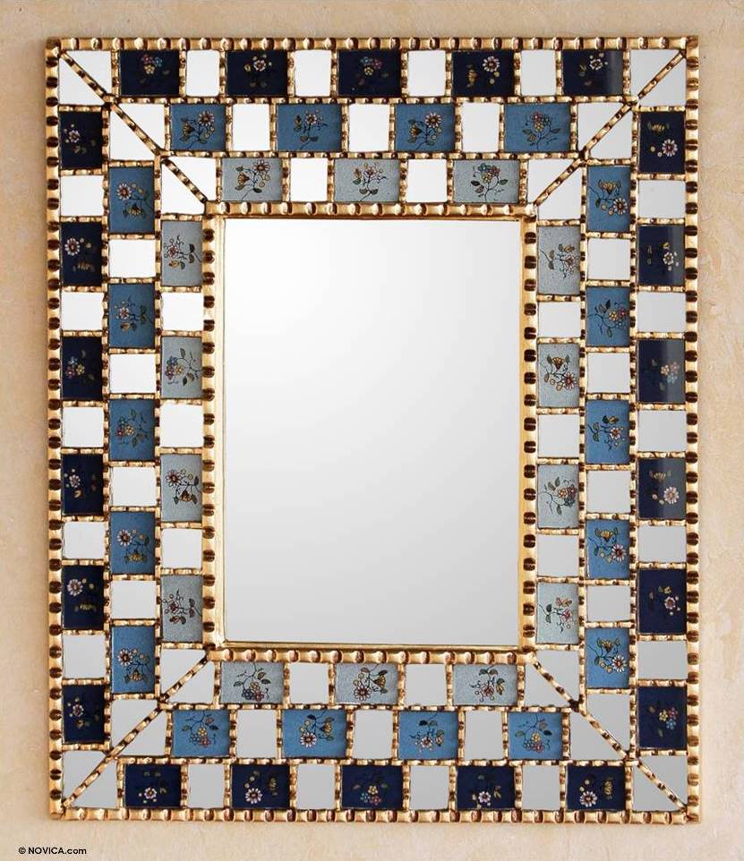Reverse Painted Glass Wall Mirror, 'Flourishing Blue Infinite' 2