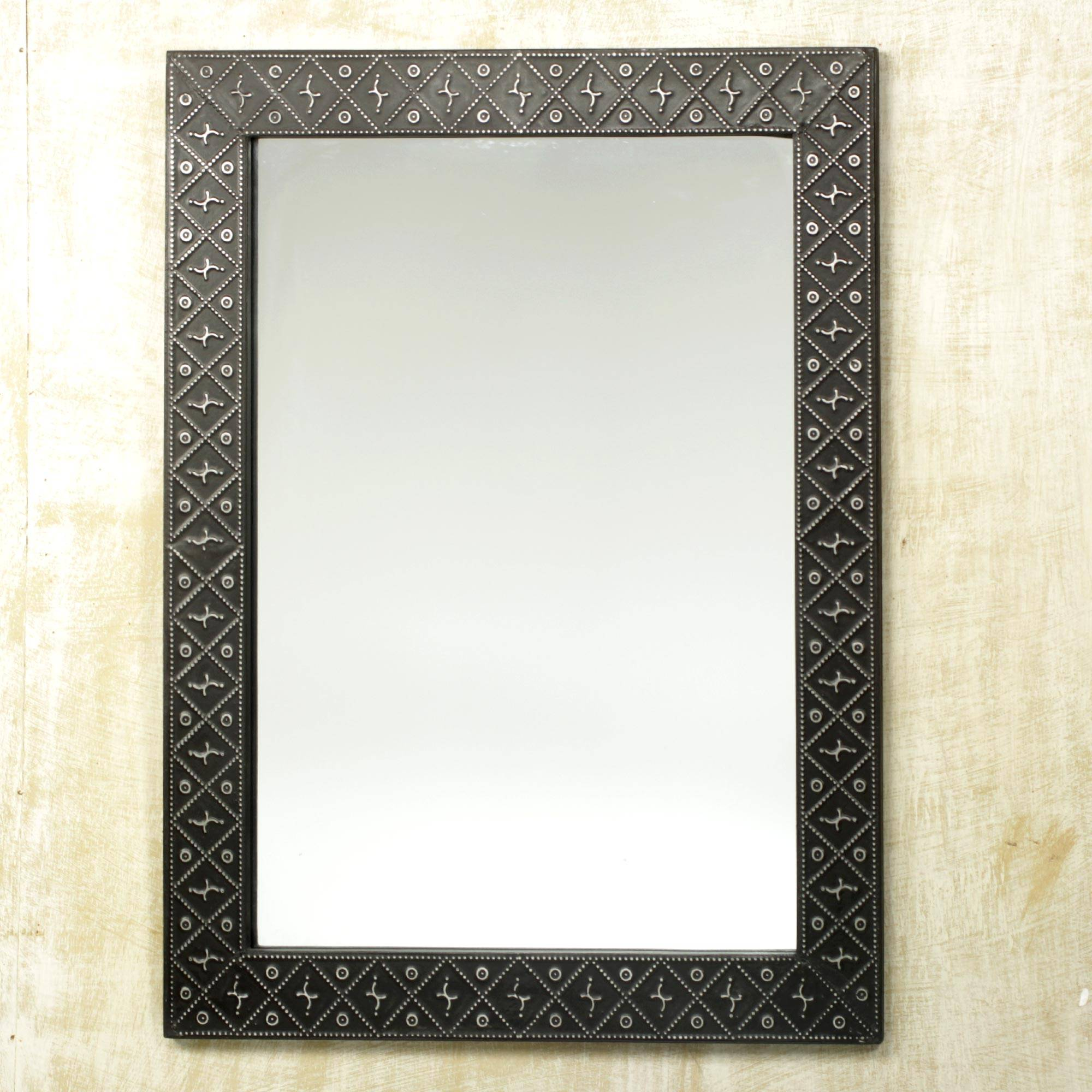 Sese Wood and Aluminum Repoussé Mirror, 'African Prince'