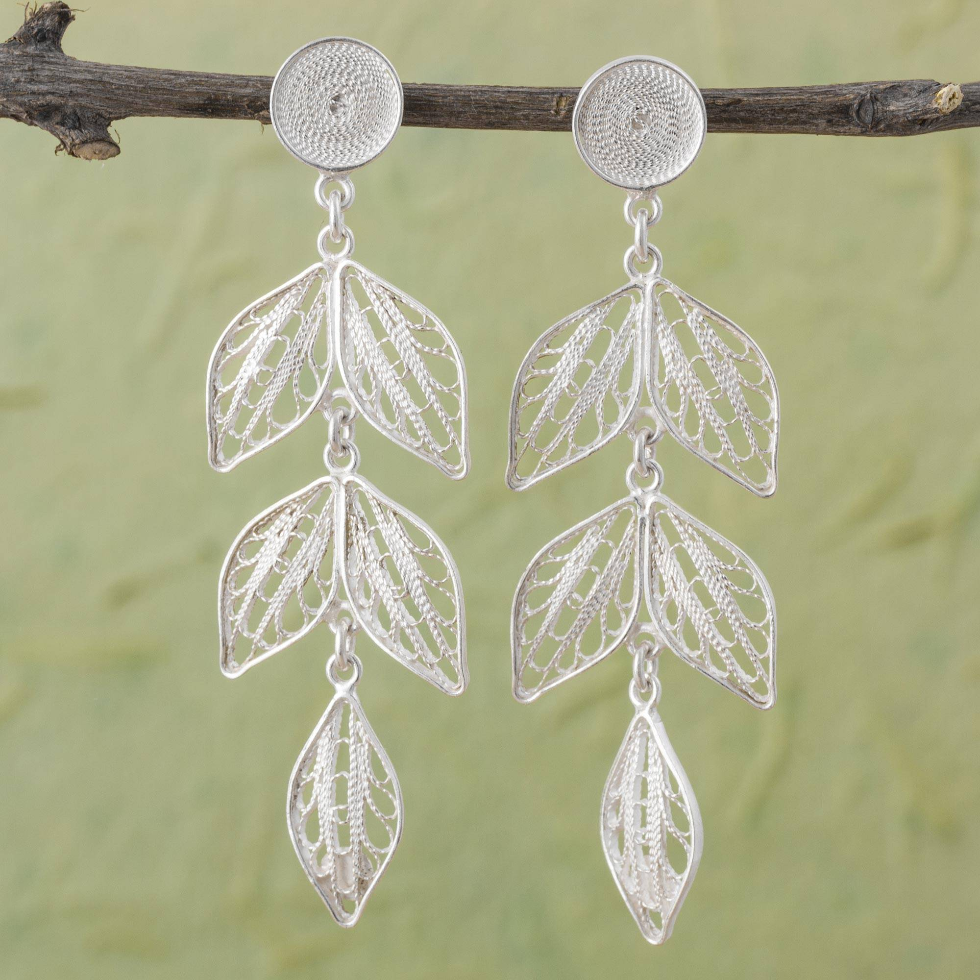 Sweet Leaves Handcrafted Sterling Silver Filigree Leaf Earrings Peru Art and Tradition in silver