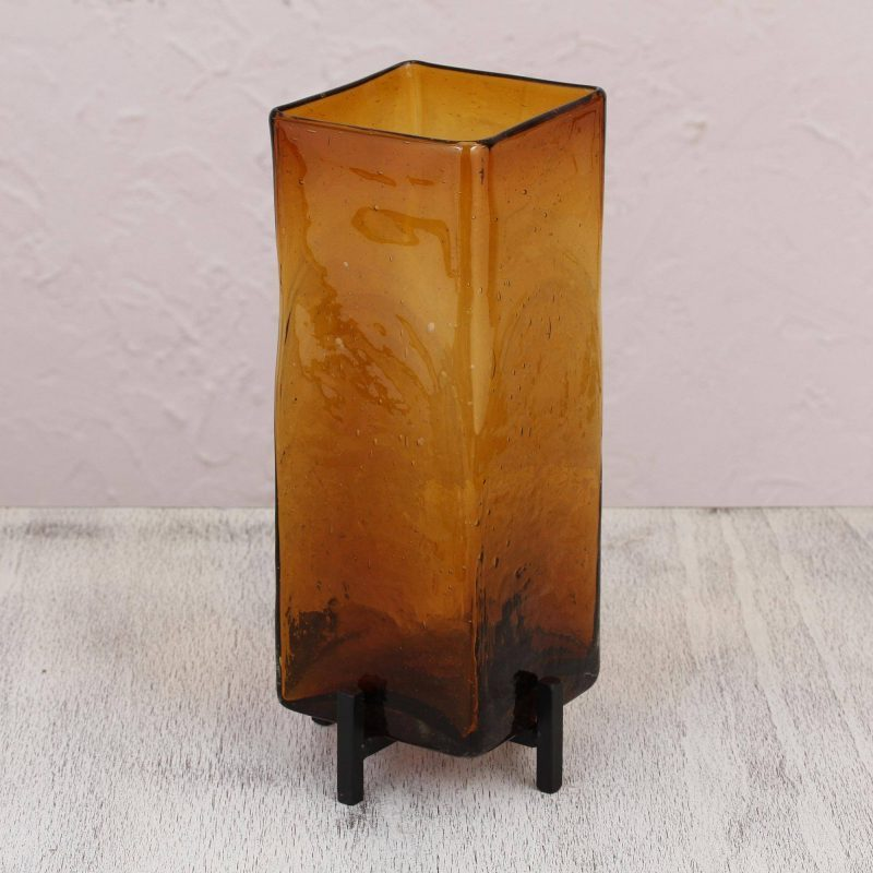 Amber Reflection Fair Trade Art Glass Hand Blown Vase with Iron Stand Mexico, glass vases, wedding gifts to impress