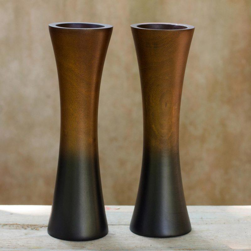 Elegant Home Thai Trumpets Handmade Mango Wood Vases